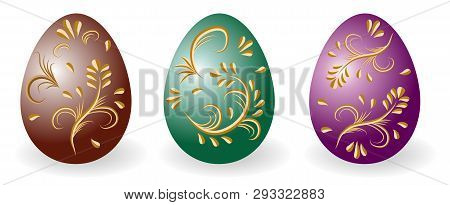 Set Of Decorative Easter Eggs Ornate With Golden Vintage Pattern. Paschal Eggs Faberge, Traditional