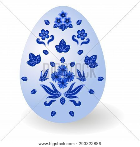 Easter Egg Decorated In Traditional Russian Style Gzhel. Paschal Egg With Floral Pattern, For Happy