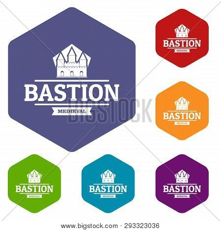 Bastion Medieval Icons Vector Colorful Hexahedron Set Collection Isolated On White