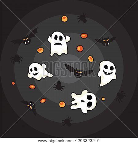 Halloween Pattern Black Bats, White Ghost And Orange Pumpkin On Black Background