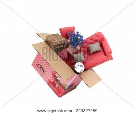 Concept Of Product Categories Furniture And Decor Fly Out Of The Box 3d Render On White No Shadow