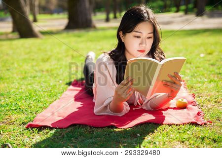 Focused Asian Woman Lying And Reading Book On Lawn. Pretty Young Lady Lying On Blanket On Grass With
