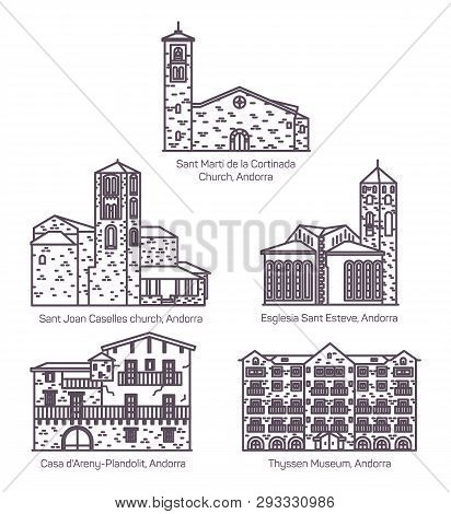 Set Of Isolated Line Andorra Church And Castle