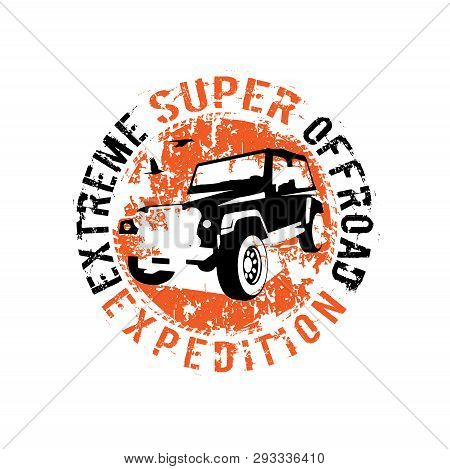 Off-road 4x4 Logo. Extreme Competition Emblem. Off-roading Suv Adventure And Car Club Elements. Vect