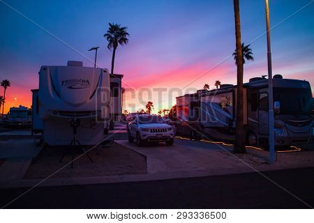 Dramatic Vibrant Sunset Scenery In Mesa Spirit, Arizona