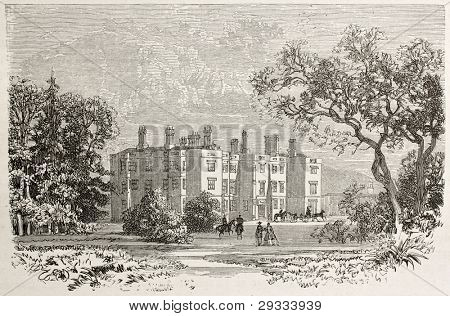 Lanover castle old view, Wales. Created by Grandsire after Erny, published on Le Tour du Monde, Paris, 1867 poster