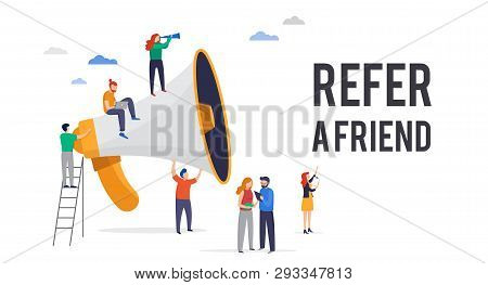 Refer A Friend Illustration. Big Megaphone With A Team Work. Concept Media For Landing Page, Templat
