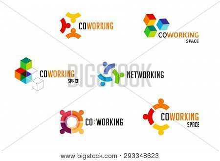 Coworking Space, Networking Zone Logo And Icons Collection. Vector Design