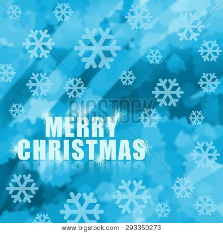 Merry Christmas Clue Icy Background With Snowflakes