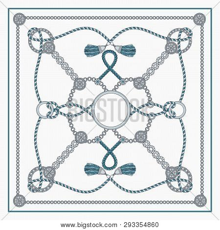 Chain Pattern For Woman Fashion Scarf Silver Blue