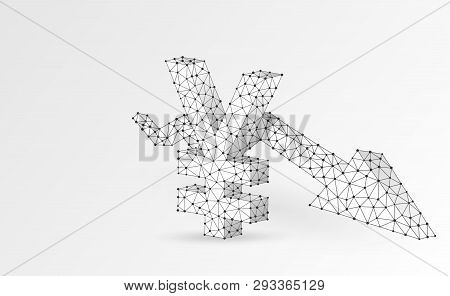 Japanese Yen Currency, Downtrend Arrow Digital Origami 3d Illustration. Polygonal Vector Business Cr