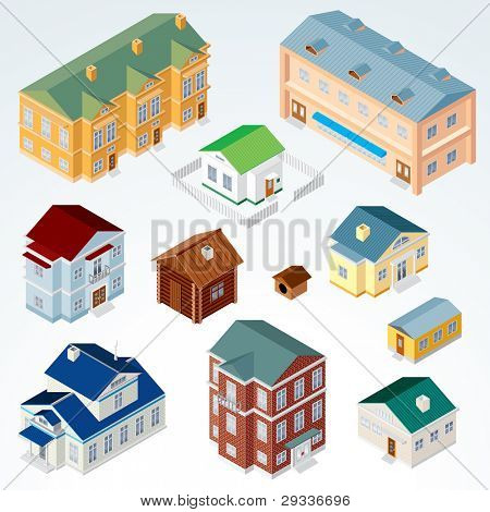 Set of Isolated Isometric Buildings. Illustration of Various Urban and Rural Houses and Dwellings, Detailed Clip Art with Easy Editable Colors.