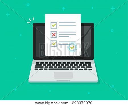 Online Form Survey On Laptop Vector, Computer Quiz Exam Paper Sheet Document, On-line Questionnaire