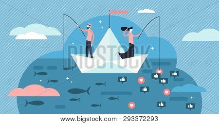 Fishing Vector Illustration. Flat Social Media Like Catch Persons Concept. Outdoors Seafood Hobby An