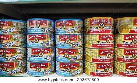 Singapore-24 Mar, 2019: Tuna Fish By Ayam Brand In Shopping Center For Sell. Ayam Brand Founded In S