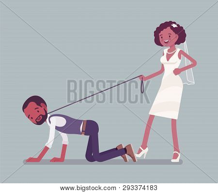 Bride Holding Groom On Dog Leash. African American Unhappy Man Oppressed By Woman, Traditional Celeb