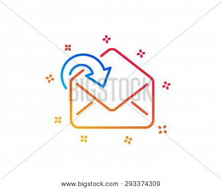 Receive Mail download line icon. Incoming Messages correspondence sign. E-mail symbol. Gradient design elements. Linear receive Mail icon. Random shapes. Vector poster