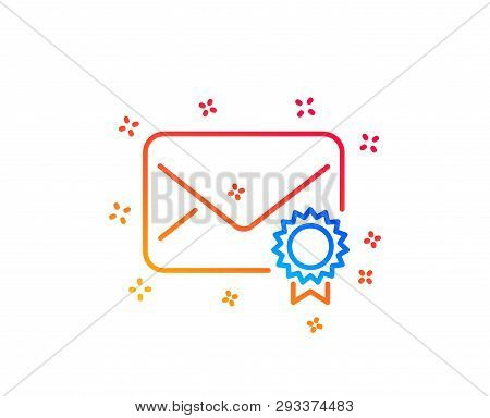 Verified Mail line icon. Confirmed Message correspondence sign. E-mail symbol. Gradient design elements. Linear verified Mail icon. Random shapes. Vector poster