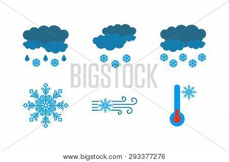 Weather Forecast Icon On A White Background. The Vectors Icon Of Clouds And Rain, Snow, Blizzard, Sn