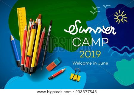 Themed Summer Camp Poster 2019, Creative And Colorful Banner, Vector Illustration.