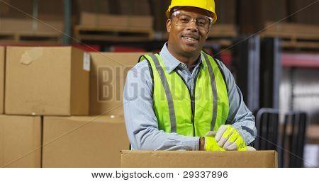 Portrait of worker in warehouse