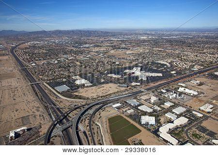 Aerial View Of Chandler, Tempe And Phoenix, Arizona