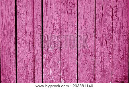 Old Grungy Wooden Planks Background In Pink Color. Abstract Background And Texture For Design.