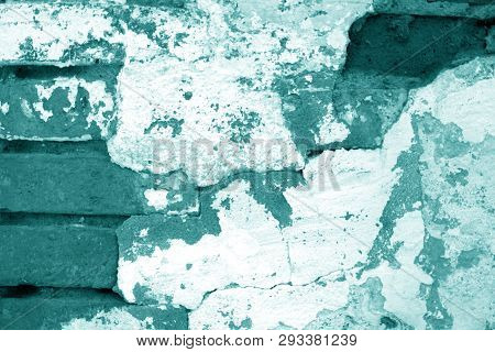 Old Grungy Brick Wall Texture In Cyan Tone. Abstract Architectural Background And Texture For Design