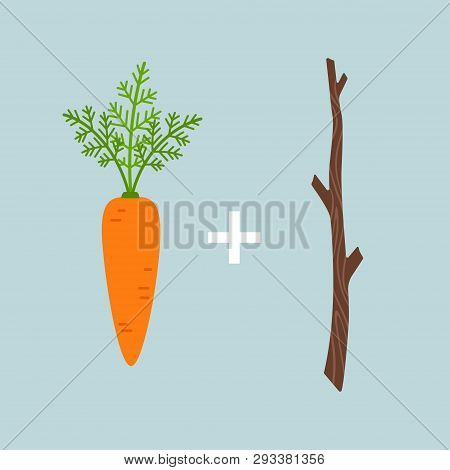 Carrot Plus Stick Motivation Concept, Vector Illustration Isolated On Blue Background
