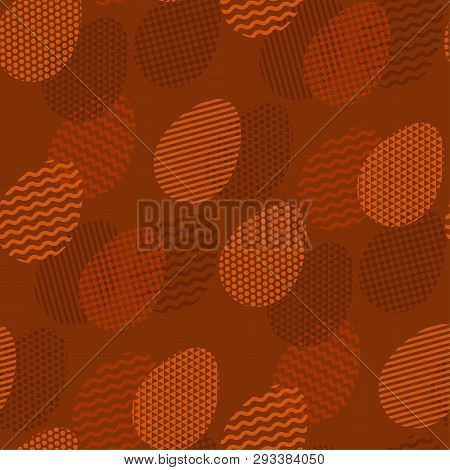 Geometry Tracery On Easter Egg In Seamless Pattern. Natural Terra Cotta Brown Colors. Cruft And Eco