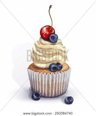 Vector Of A Crumbly, Gentle Wet Biscuit Cupcake With A Stunning Soft Air Cheese Cream, With Juicy Fr