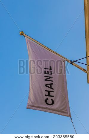 April 2019. London. A View Of The Chanel Flag On Bond Street In London