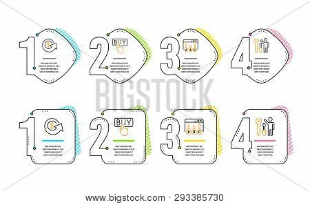 Buying, Survey Results And Dollar Exchange Icons Simple Set. Repairman Sign. E-commerce Shopping, Be
