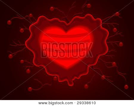 Vector illustration of beautiful decorative heart shape on maroon color background for Valentines Day and other occasions.