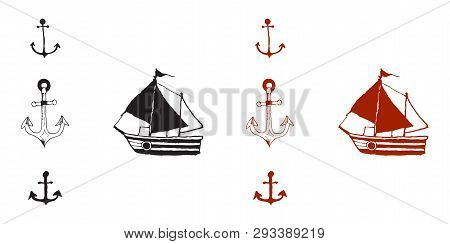 Wooden pirate buccaneer filibuster corsair sea dog ship icon game isolated flat design vector illustration poster