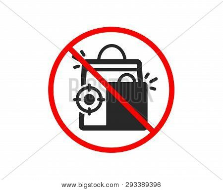 No Or Stop. Seo Shopping Bags Icon. Search Engine Optimization Sign. Analytics Symbol. Prohibited Ba