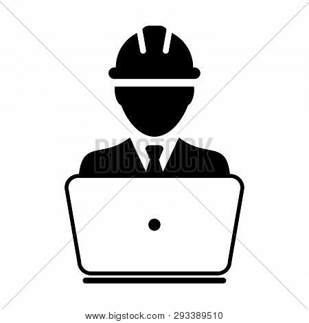 Support Icon Vector Male Construction Service Worker Person Profile Avatar With Laptop And Hardhat H
