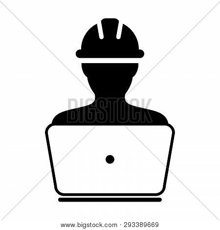 Survey Worker Icon Vector Male Construction Service Person Profile Avatar With Laptop And Hardhat He