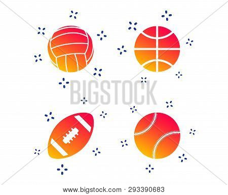 Sport Balls Icons. Volleyball, Basketball, Baseball And American Football Signs. Team Sport Games. R