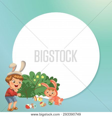 Little Boy Smile Hunting Decorative Chocolate Egg Under Brush In Easter Bunny Costume With Ears And