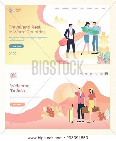 Travel And Rest In Warm Countires Or Trip To Asia Webpage. Tourist Holding Map And Handbag, Man Stan