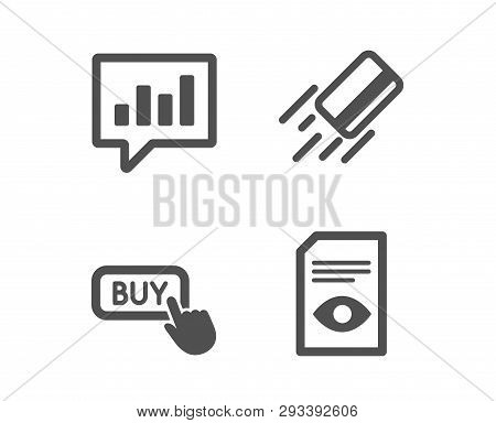 Set Of Buy Button, Credit Card And Analytical Chat Icons. View Document Sign. Online Shopping, Bank
