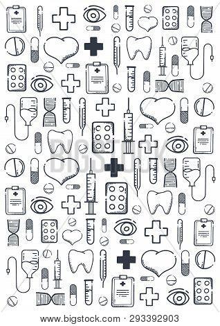 Medical Hand-draw Doodle Background. Pills, Vitamin Tablets, Medical Drug. Vector Illustration.