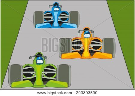Racing On Atheletic Fireball On Road.vector Illustration