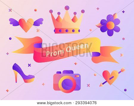 Gradient Prom Queen Ribbon Vector Illustration Web