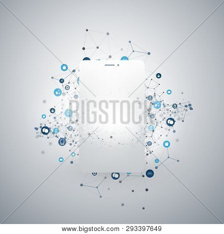 Internet Of Things, Cloud Computing Design Concept With Mobile Phone Silhouette And Icons - Digital