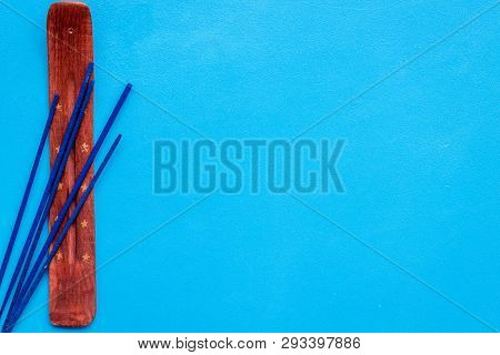 Incense Sticks For Fresh Air On Blue Background Top View Mock Up