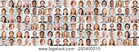 Panorama indoor portrait collage of people of different ages as a society and generations concept