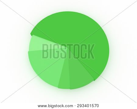 illustration of a green pie chart. 3D