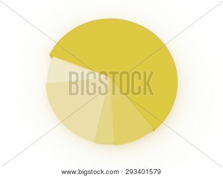 illustration of a yellow pie chart. 3D